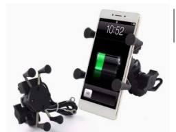 Suporte celular com carregador USB com garra para moto