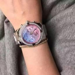 Relogio Guess Confetti prata e rosa w0774l1 original