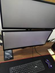 2 monitores ultrawide 25 + suporte vertical - estado de novo