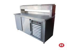 Balcão Refrigerado Aço Inox Condimentador Suspenso