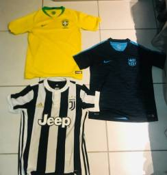 3 camisas de time Juventus, Barcelona e Brasil originais 10-12 anos