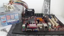 Placa Mãe Pc Chips 825G 9.2v + Proc. Sempron 2200+ + 384MB Ddr (128MB + 256MB) + Fonte