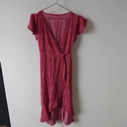 Vestido vermelho floral assimetrico transpassado estilo Shein