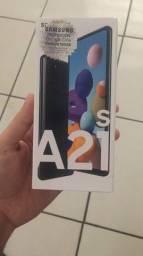 Samsung A21s na caixa