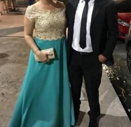 Desapagando vestido de festa tifany e dourado