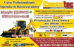 Curso de Operador de Retroescavadeira - R$ 400,00 Inicio 14-01-2019