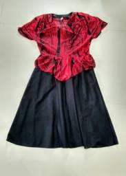 Vestido preto e vermelho M