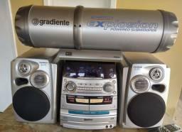 Aparelho de som Gradiente com 3 caixas de som