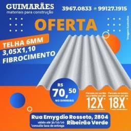 Telha fibrocimento 3,05x1,10 6mm