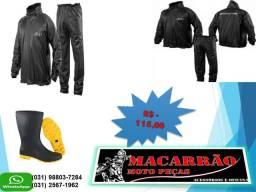Combo Capa de Chuva e Bota Solado Amarelo para Motoboy