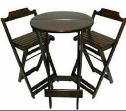 Jogo de Bistro, Redondo, com mesa e duas cadeiras Dobrável