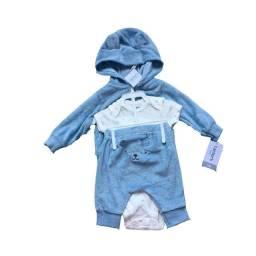 Conjunto 3 Peças Ursinho Carter's Azul Bebê RN