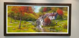 Quadro pintura em tela retrata a vida em campo no Outono