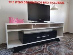 Rack para tv, branco e preto, usado