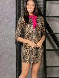 Roupa feminina vestido animal print com gola