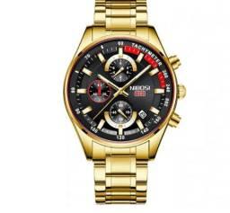 Relógio Nibosi Dourado Aço Inox Cronógrafo