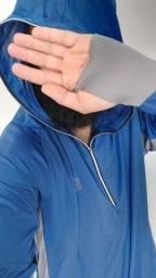 Blusa c/ capuz e luva - tecido tecnologico anti uv, respirável, secagem rápida