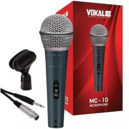 Microfone Vokal Mc10 Com Fio + Suporte + Bolsa Proteção