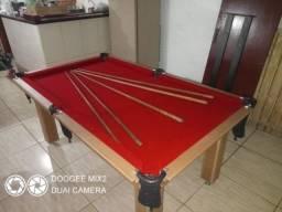 Mesa Tentação Carlin Bilhares Cor Cerejeira Tecido Vermelho Mod. DGDI7304