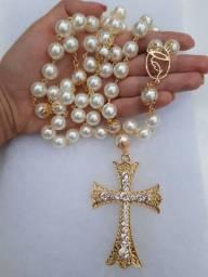 Terço divino Espírito Santo banhado a ouro