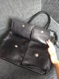 Bolsa couro preta legítimo