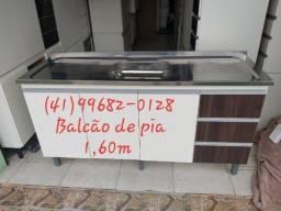 Balcão de pia 1,60m com inox/NOVO