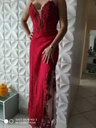 Vestido festa em renda Itáliana, tule bege, bordado a mão