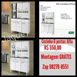 Cozinha 6 pts Alfa/ Montagem Grátis.