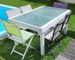 Mesa com 6 Cadeiras em Alumínio