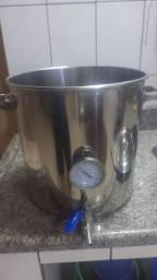 Caldeirão de inox 32 litros com termômetro, fundo falso e válvula