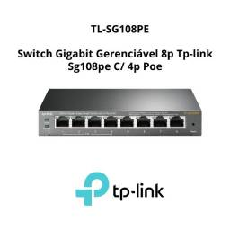 Switch Gigabit Gerenciável 8p Tp-link Sg108pe C/ 4p Poe
