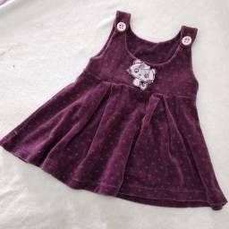 Vestido de veludo bordô para menina até 2 anos