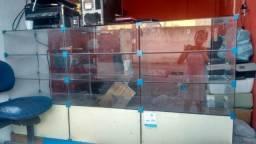 Estante de vidro, expositor, balcão de vidro