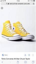 Tenis all star amarelo cano alto