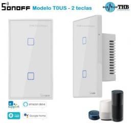 Interruptor Sonoff TX touch 2 teclas - vidro temperado - Controle por voz - Alexa e Google