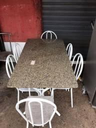 Mesa 6 cadeiras granito conservada combino entrega