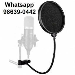Pop filter Antipuff p/ Microfone Estudio condensador (Novo, aceito cartão)