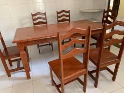 Mesa em madeira rústica 6 cadeiras
