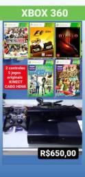 Xbox 360 com Kinect e 5 jogos