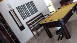 Mesa Tentação de Sinuca e Bilhar Cor Marrom Tecido Amarelo Mod. WEPF4260