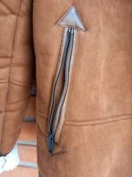Jaqueta de couro e lã