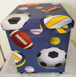Puff Baú Caixa Organizadora Decoração Infantil Futebol