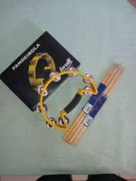 Pandeirola torelli musical amarela e dois pares de baquetas liverpool(Novos, nunca usados)