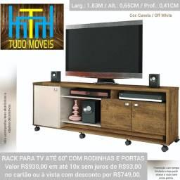 """Rack P/ TV até 60"""" com Rodinhas (montagem grátis)"""