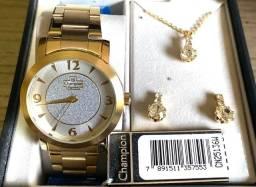 Lindo Relógio Dourado Feminino Champion Novo original (aceito cartão