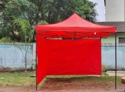 Tenda Sanfonada gazebo 3x3 Com Laterais nas cores (vermelha ou Azul) Lacrada