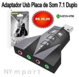 Placa De Som 7.1 Adaptador Duplo Usb Conecta 2 Microfones E 2 Fones