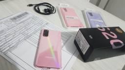 Samsung Galaxy S20 Rosa com NF, Completo e mais 2 capinhas