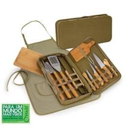 Kit para churrasco e caipirinha 14 peças em Bambu e Aço Inóx
