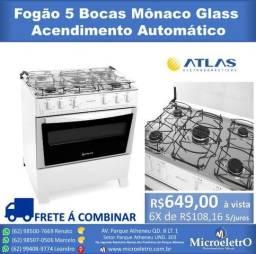 Fogão 5 Bocas Mônaco Glass